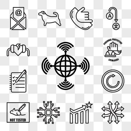 Satz von 13 transparenten bearbeitbaren Symbolen wie wan, vielseitig, Wirksamkeit, Bigdata, nicht an Tieren getestet, erneut versuchen, Logbuch, PPE, Defibrillator, Web-UI-Icon-Pack, Transparenz-Set
