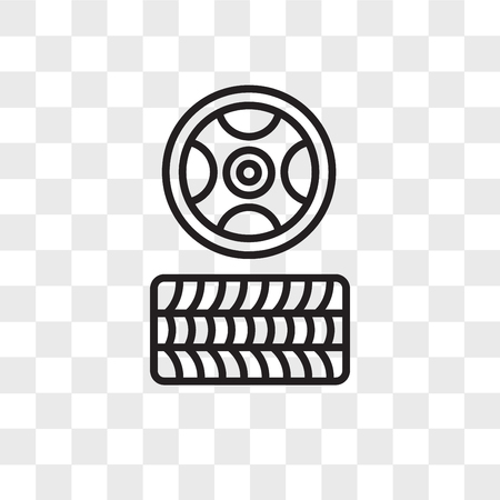 Tire vector icon isolated on transparent background, Tire logo concept
