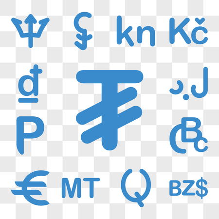 Set Of 13 transparent icons such as Mongolia currency, Belize Guatemala Mozambique Germany Congo (Kinshasa) web ui editable icon pack, transparency Ilustração