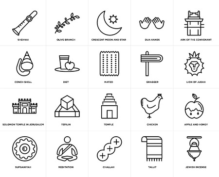 Set Of 20 simple editable icons such as Jewish Incense, Lion of Judah, Ark the Convenant, Dua Hands, Sufganiyah, Olive Branch, Chicken, Conch shell, web UI icon pack, pixel perfect Ilustrace