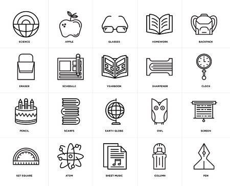 Set Of 20 icons such as Pen, Column, Sheet music, Atom, square, Backpack, Sharpener, Earth globe, Pencil, Schedule, Glasses, web UI editable icon pack, pixel perfect