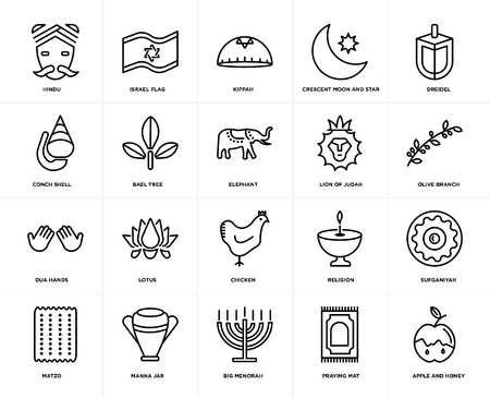 Set Of 20 simple editable icons such as Apple and Honey, Olive Branch, Dreidel, Crescent Moon Star, Matzo, Israel Flag, Religion, Conch shell, web UI icon pack, pixel perfect Vectores
