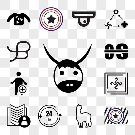 Set Of 13 transparent editable icons such as yak, Airforce, alpaca, 24 hr, guestbook, Black swastik, occupational therapy, beta, web ui icon pack, transparency set