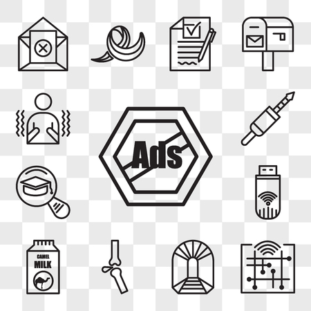 Set van 13 transparante bewerkbare pictogrammen zoals advertenties verwijderen, digitalisering, kunt u mijnen, ortho, kamelenmelk, dongle, meest gelezen, 3,5 mm-aansluiting, rillen, web ui icon pack, transparantieset