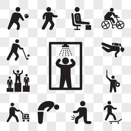 Set Of 13 transparent editable icons such as Shower, Skater, Men with Knee pain, Backbend, Worker loading boxes, Warrior Fighting, Podium, Diver, Golfer, web ui icon pack, transparency set