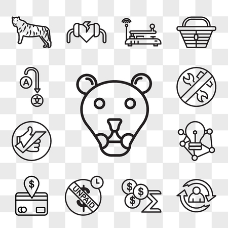 Set Of 13 transparent editable icons such as lioness, lifecycle, , unpaid, direct debit, deep learning, okey, low maintenance, change language, web ui icon pack, transparency set