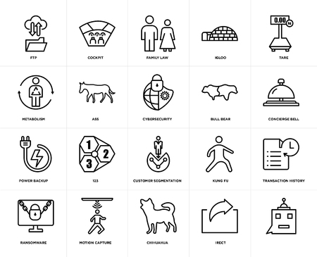 Set Of 20 icons such as, irect, chihuahua, motion capture, ransomware, tare, bull bear, customer segmentation, power backup, ass, family law, web UI editable icon pack, pixel perfect