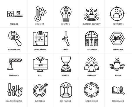 Set Of 20 simple editable icons such as proofreading, remove ads, remarketing, customer centricity, real time analytics, dew point, headcount, no hidden fees, web UI icon pack, pixel perfect