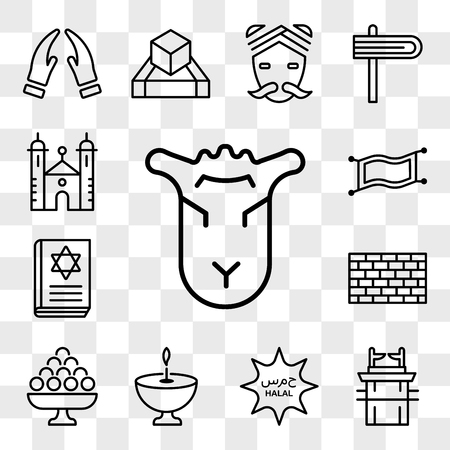 Set Of 13 transparent editable icons such as Lamb of God, Ark the Convenant, Halal, Religion, Laddu, Kotel, Torah Book, Magic Carpet, Synagogue, web ui icon pack, transparency set