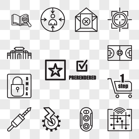 Set Of 13 transparent icons such as prerende, digitalisation, dual camera, electromechanical, 3.5 mm jack, one stop shop, dmca, futsal, web ui editable icon pack, transparency set