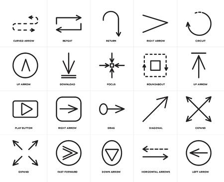 Satz von 20 Symbolen wie Pfeil nach links, horizontale Pfeile, Schnellvorlauf nach unten, Erweitern, Schaltung, Kreisverkehr, Ziehen, Wiedergabetaste, Download, Zurück, bearbeitbares Symbolpaket für die Web-UI, Pixelperfekt Vektorgrafik