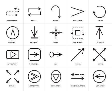 Set Of 20 icons such as Left arrow, Horizontal arrows, Down Fast forward, Expand, Circuit, Roundabout, Drag, Play button, Download, Return, web UI editable icon pack, pixel perfect Vettoriali