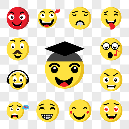 Set Of 13 transparent icons such as Graduated emoji, In love Happy Surprised Smart Music Nerd web ui editable icon pack, transparency set