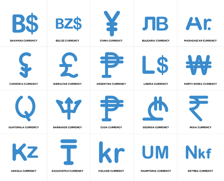 Set Of 20 simple editable icons such as Argentina currency, Mauritania Iceland Kazakhstan Liberia web UI icon pack, pixel perfect Illustration