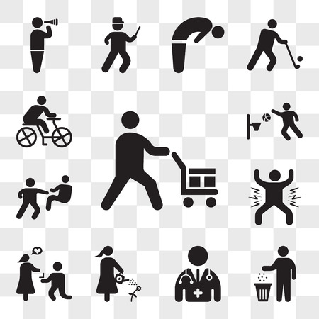 Set Of 13 transparent icons such as Worker loading boxes, Person recycling, Doctor, Man watering a plant, Marry me, celebrating, fight punch, web ui editable icon pack, transparency set