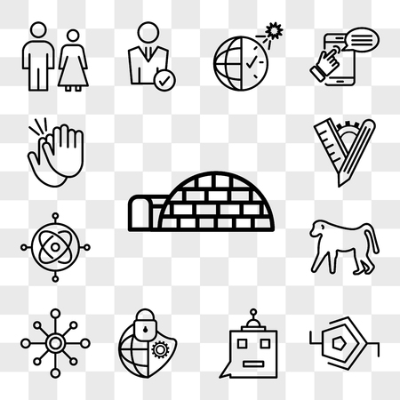 Set Of 13 transparent editable icons such as igloo, synapse, , cybersecurity, multichannel, baboon, gyroscope, tailor made, applause, web ui icon pack, transparency set