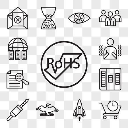 Set Of 13 transparent editable icons such as rohs, pre order, stellar lumens, cormorant, 3.5 mm jack, kanban, data integrity, shivering, colocation, web ui icon pack, transparency set