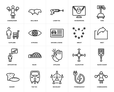 Set Of 20 icons such as cheerleading, power backup, sociology, tuk tuk, bakery, tare, brexit, applause, anticipation, hypnosis, laser tag, web UI editable icon pack, pixel perfect