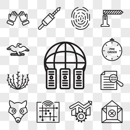 Set Of 13 transparent icons such as colocation, unsubscribe, operational excellence, digitalisation, possum, data integrity, tumbleweed, preorder, web ui editable icon pack, transparency set