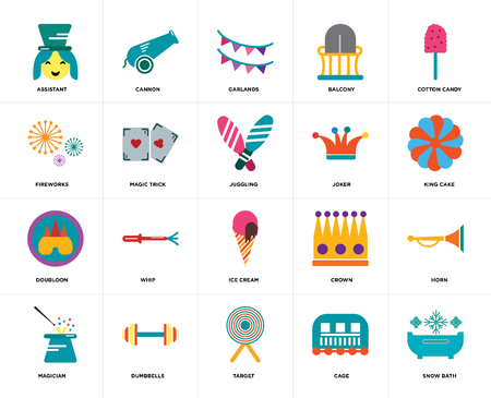 Set Of 20 icons such as Snow bath, Cage, Target, Dumbbells, Magician, Cotton candy, Joker, Ice cream, Doubloon, Magic trick, Garlands, web UI editable icon pack, pixel perfect Ilustração
