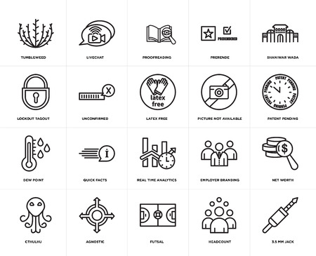 Set Of 20 simple editable icons such as 3.5 mm jack, patent pending, shaniwar wada, prerende, cthulhu, livechat, employer branding, lockout tagout, web UI icon pack, pixel perfect 일러스트