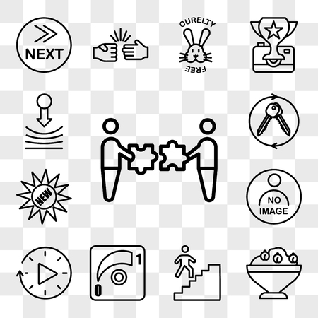 Set Of 13 transparent editable icons such as mergers and acquisitions, hummus, stairwell, dimmer, downtime, photo not available, new, turnkey, resilience, web ui icon pack, transparency set Stock Illustratie