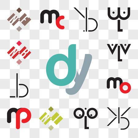 Conjunto de 13 iconos editables transparentes como dy, yd, BX, XB, oLo, NI o IN, mb bm, mo om, BL, LB, aLa, NB BN, paquete de iconos de interfaz de usuario web, conjunto de transparencia