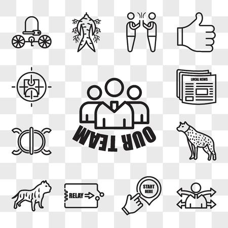 Satz von 13 transparenten bearbeitbaren Symbolen wie unser Team, Vielseitigkeit, Start hier, Staffel, Pitbull, Hyäne, Ausdauer, lokale Nachrichten, aktiver Shooter, Web-UI-Symbolpaket, Transparenzsatz