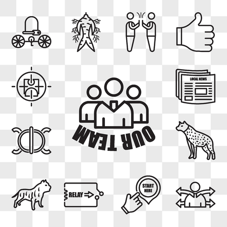 Set Of 13 transparent editable icons such as our team, versatility, start here, relay, pitbull, hyena, perseverance, local news, active shooter, web ui icon pack, transparency set Illustration