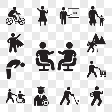 Set Of 13 transparent icons such as Friends talking, Thief, Golfer, Graduate Student, Disabled, Worker loading boxes, Backbend, Backpacker Hiking, web ui editable icon pack, transparency set