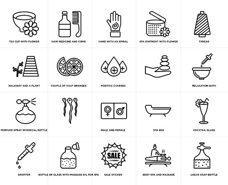 Set Of 20 simple editable icons such as positive charges, body spa and massage, Sale sticker, Bottle of glass with massage oil for spa, , web UI icon pack, pixel perfect