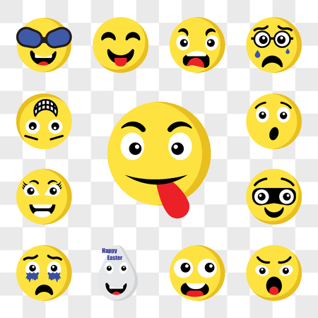 Set Of 13 transparent icons such as Tongue emoji, Angry Ugly Easter Crying Thief Smart Surprised web ui editable icon pack, transparency set