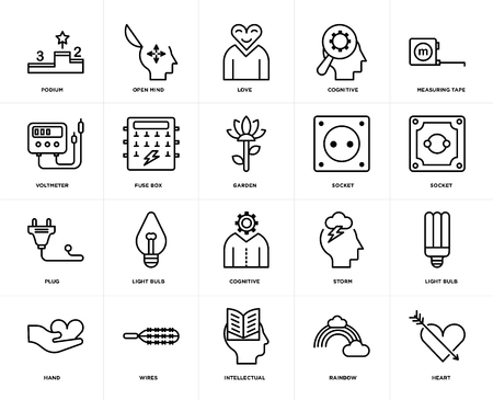 Set Of 20 icons such as Heart, Rainbow, Intellectual, Wires, Hand, Measuring tape, Socket, Cognitive, Plug, Fuse box, Love, web UI editable icon pack, pixel perfect Ilustración de vector