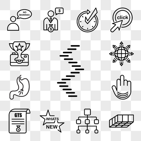 Set Of 13 transparent editable icons such as spiral staircase, mould, org chart, whats new, gst, fuck you, endoscopy, global expansion, photo contest, web ui icon pack, transparency set