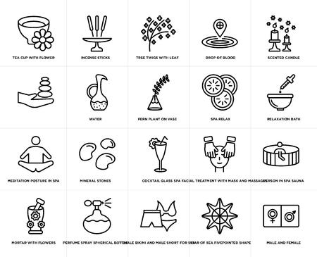 Ensemble de 20 icônes modifiables simples telles que bougie parfumée, forme à cinq points étoile de mer, bikini féminin et short masculin pour spa, bain de relaxation, pack d'icônes de l'interface utilisateur Web, pixel parfait Vecteurs