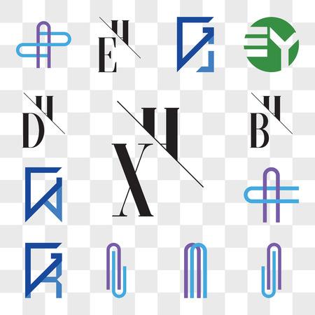 Set Of 13 transparent editable icons such as XH, HX, AJ or JA Letter, , Al lA GR, RG, AC CA GV, VG, BH, HB, DH, HD, web ui icon pack, transparency set Banco de Imagens - 106769724