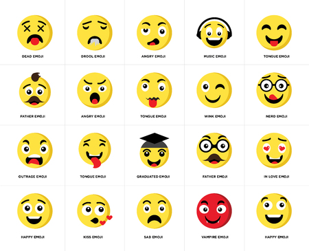 Set Of 20 simple editable icons such as Happy emoji, Nerd Tongue Music Drool Father web UI icon pack, pixel perfect Illustration