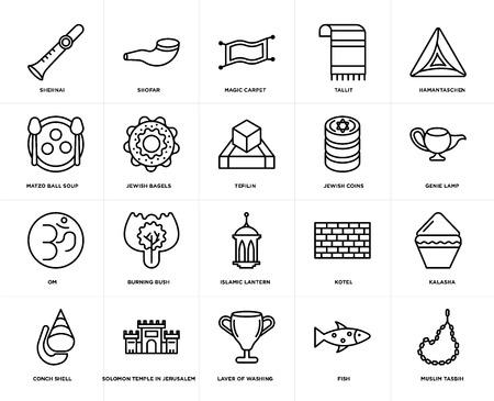Set Of 20 simple editable icons such as Muslim Tasbih, Genie Lamp, Hamantaschen, Tallit, Conch shell, Shofar, Kotel, Matzo Ball Soup, web UI icon pack, pixel perfect