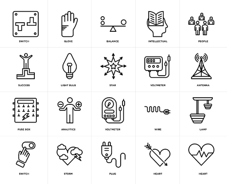Set Of 20 icons such as Heart, Plug, Storm, Switch, People, Voltmeter, Fuse box, Light bulb, Balance, web UI editable icon pack, pixel perfect Stock Illustratie