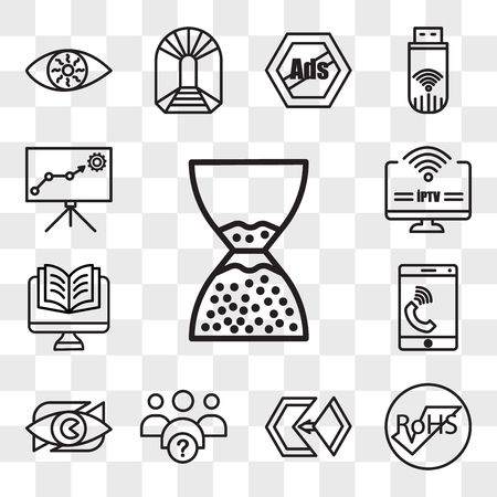 Set Of 13 transparent editable icons such as scarcity, rohs, matchmaking, why us, neighborhood watch, celphone, Studies, iptv, lms, web ui icon pack, transparency set Illustration