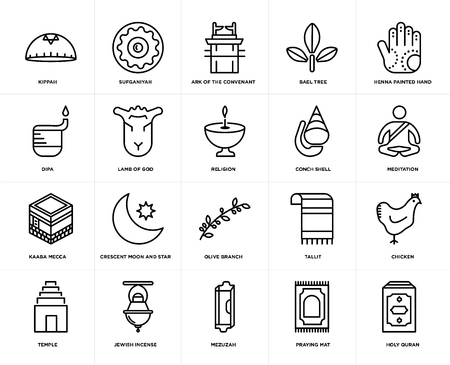 Set Of 20 simple editable icons such as Holy Quran, Meditation, Henna painted hand, Bael tree, Temple, Sufganiyah, Tallit, Dipa, web UI icon pack, pixel perfect Illustration