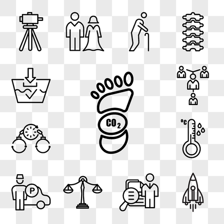 Set Of 13 transparent icons such as carbon footprint, stellar lumens, job fair, benchmarking, valet, temperature sensor, bail, mentorship, web ui editable icon pack, transparency set