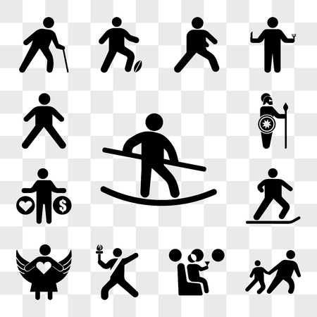 Set Of 13 transparent icons such as Tightrope Walker, Drag child, Man drinking on the plane, Sport torch runner, Angel with open arms, Jumping ski, web ui editable icon pack, transparency