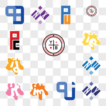 Set Of 13 transparent editable icons such as YB, NY or YN, QJ JQ, im mi, ir ri, NU UN, id di, ie ei, PE EP, web ui icon pack, transparency set