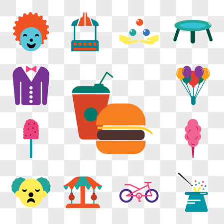 Set Of 13 transparent editable icons such as Fast food, Magician, Bicycle, Carousel, Clown, Cotton candy, Balloon, Tuxedo, web ui icon pack, transparency set Vectores