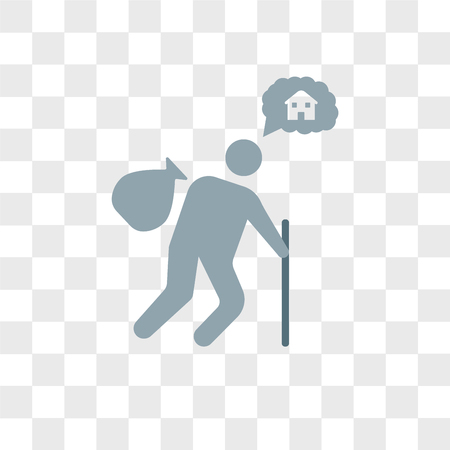 Homeless vector icon isolated on transparent background, Homeless logo concept