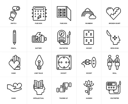 Set Of 20 icons such as Voltmeter, Garden, Thumbs up, Intellectual, Hand, Broken heart, Socket, Battery, Fuse box, web UI editable icon pack, pixel perfect