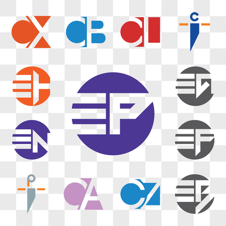 Set Of 13 transparent editable icons such as EP PE, EB BE, C7, 7C, CA AC, pi ip, EF FE, EN NE, EG GE, EH HE, web ui icon pack, transparency set