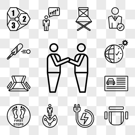 Set Of 13 transparent icons such as brotherhood, chair top view, power backup, customer segmentation, first steps, drivers license, chair, daylight savings, web ui editable icon pack, transparency set