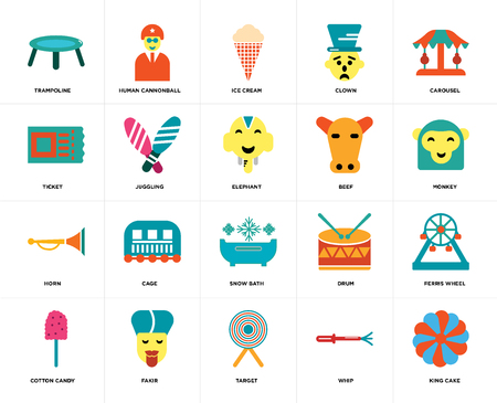 Set Of 20 icons such as King cake, Whip, Target, Fakir, Cotton candy, Carousel, Beef, Snow bath, Horn, Juggling, Ice cream, web UI editable icon pack, pixel perfect